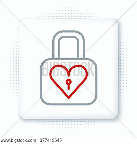Line Lock And Heart Icon Isolated On White Background. Locked Heart. Love Symbol And Keyhole Sign. V