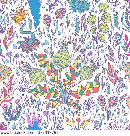 Colorful Exotic Fantastic Plants, Mushrooms And Flowers Seamless Pattern, Isolated On White Backgrou