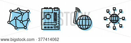 Set Line Social Network, Neural Network, Motherboard And Social Network Icon. Vector