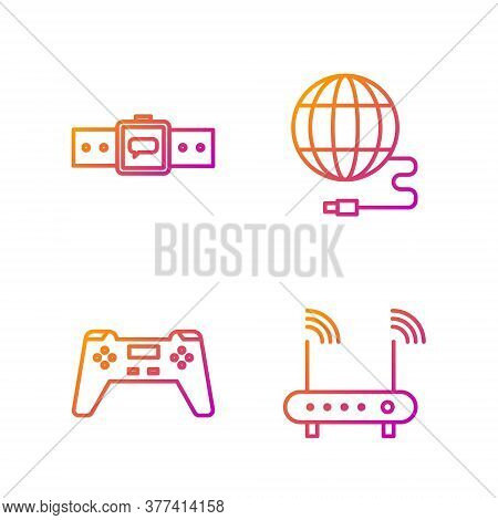 Set Line Router And Wi-fi Signal, Gamepad, Smartwatch And Social Network. Gradient Color Icons. Vect