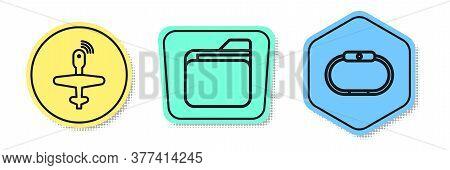 Set Line Uav Drone, Document Folder And Smartwatch. Colored Shapes. Vector