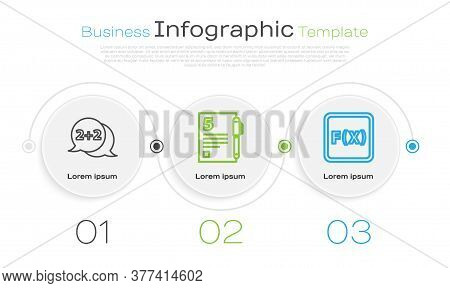 Set Line Geometric Figure Cone, Open Book And Equation Solution. Business Infographic Template. Vect