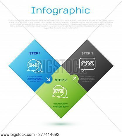 Set Line Geometric Figure Cone, Tablet With Calculator And Calculator. Business Infographic Template