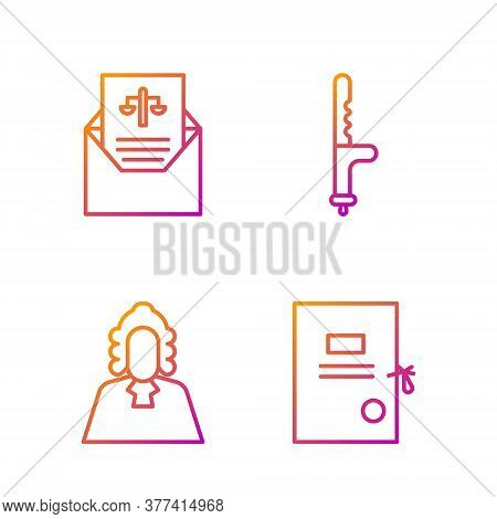 Set Line Lawsuit Paper, Judge, Subpoena And Police Rubber Baton. Gradient Color Icons. Vector