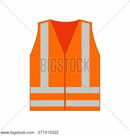 Safety Vest On White Background. High-visibility Orange Reflective Vest. Reflective Safety Vest Oran