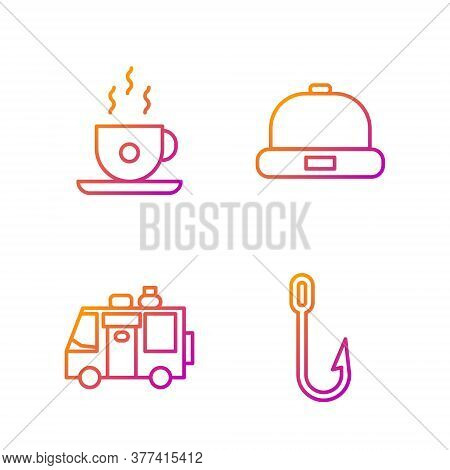Set Line Fishing Hook, Rv Camping Trailer, Coffee Cup And Beanie Hat. Gradient Color Icons. Vector