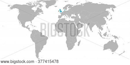 Denmark, United Kingdom Countries Isolated On World Map. Light Gray Background. Economic And Trade R