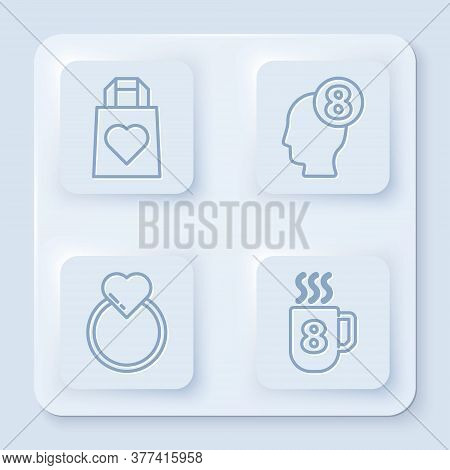 Set Line Shopping Bag With Heart, 8 March In Human Head, Wedding Rings And Coffee Cup With 8 March.
