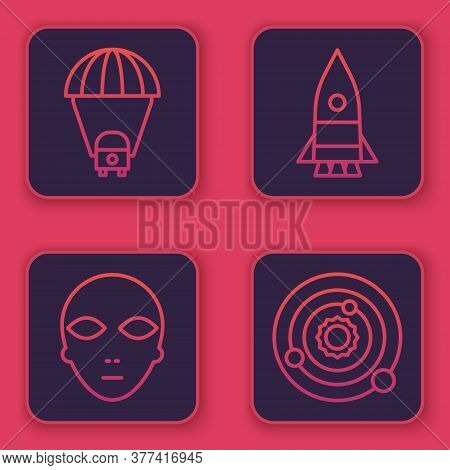 Set Line Planet Saturn, Alien, Rocket Ship And Solar System. Blue Square Button. Vector