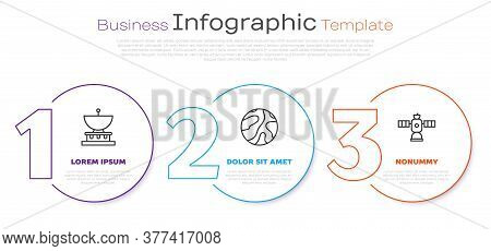 Set Line Planet Saturn, Falling Stars And Satellite. Business Infographic Template. Vector