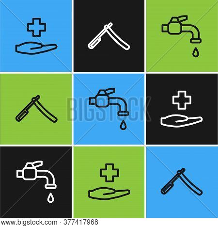 Set Line Cross Hospital Medical, Water Tap And Straight Razor Icon. Vector