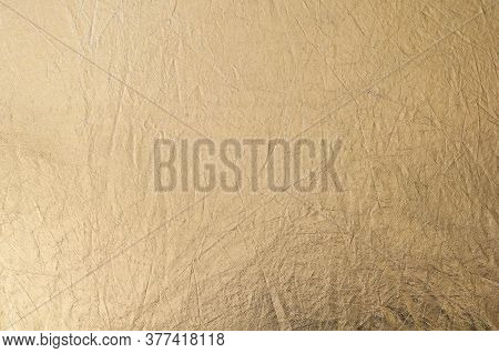 Gold Texture, Fabric Reflector, Simple Stretched Gold Background.