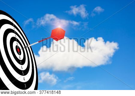 The Bullseye Is A Target Icon In The Sky Background - Focus On Targeting The Business. Business Goal