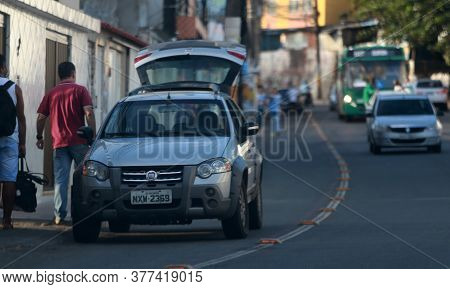 Salvador, Bahia / Brazil - March 14, 2018: Vehicle Is Seen Parked In A Cycle Lane Area Used By Cicli