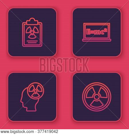 Set Line Radiation Warning Document, Head And Radiation Symbol, Equation Solution And Radioactive. B