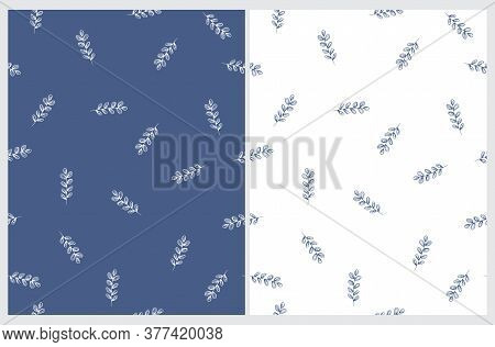 Abstract Freehand Twigs Seamless Vector Pattern. Blue Twigs On A White Background. White Sprig On A