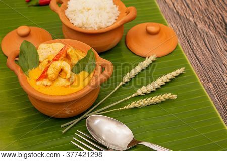 Chicken Panang Curry With Rice Is Thai Food Sauce Curry And Basil Leaf And Coconut Milk Put On Terra