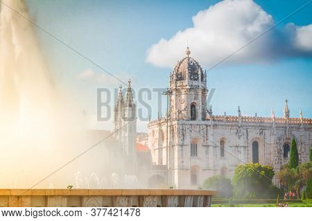 Old Mosteiro Dos Jeronimos With Fountain, Belem, Lisbon, Portugal With Sunshine