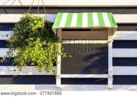 Mockup Singboard, Black Chalkboard, Blank For Sign, Advertising Informations Of Restourant, Hotel, C