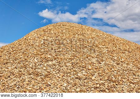 Huge Pile Of Fresh Woodchips Against The Sky
