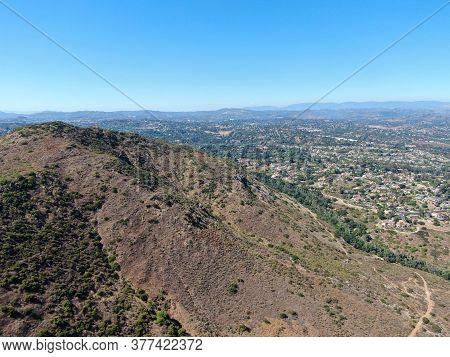 Aerial View Of Rancho Bernardo Town And Mountain With Great Hiking Trail, East San Diego County, Cal