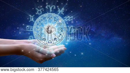 Zodiac Signs Inside Of Horoscope Circle. Astrology In The Sky With Many Stars And Moons  Astrology A