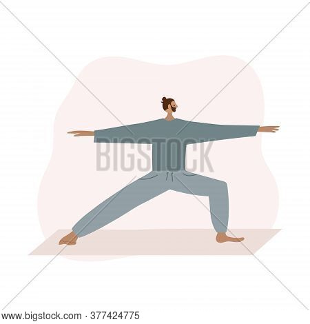 Man On Yoga Mat In Warrior Two Pose Asana. People Vector Illustration. Health Body And Mind Care Wel