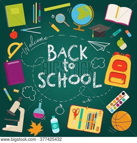Back To School Banner Flat Icon Set On A School Blackboard Background. Vector Illustration. Educatio