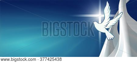 Dove Whit Christian Cross Symbol. Crucifix. Blue Background With Bright Rays. Easter. Symbol Of Puri