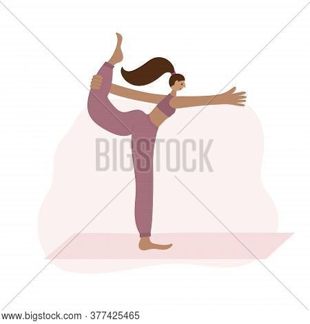 Woman On Yoga Mat In Lord Of The Dance Pose Asana. People Vector Illustration. Health Body And Mind