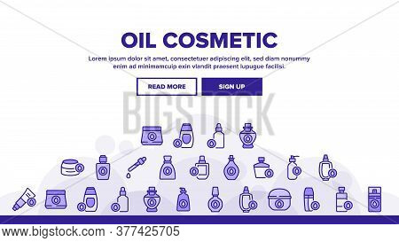 Oil Cosmetic Skin Care Landing Web Page Header Banner Template Vector. Essential Aromatic Oil Contai