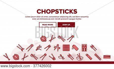 Chopstick Utensil Landing Web Page Header Banner Template Vector. Chopstick Bamboo Wooden Kitchenwar