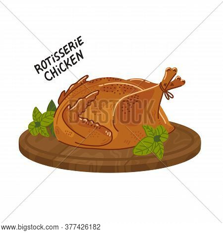 Fried Chicken. Cooked Whole Chicken On A Round Wooden Cutting Board. Simple Flat Style Vector Illust