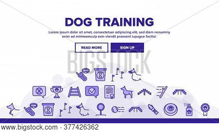 Dog Training Equipment Landing Web Page Header Banner Template Vector. Animal Dog With Muzzle And Me