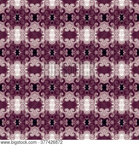 Ornament With Scrollworks And Circle Motifs In Bordo Hues. Seamless Pattern In Baroque Style. Abstra