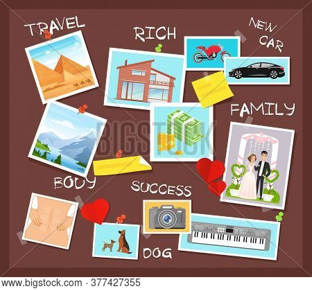 Cartoon Flat Visionary Examples Of Financial Business Success, Travel Achievements, Happy Family Wed