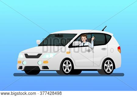 Happy Businessman Driving A New Car To Work. It's Easy And Fast Than Walk. Business People Drive A E