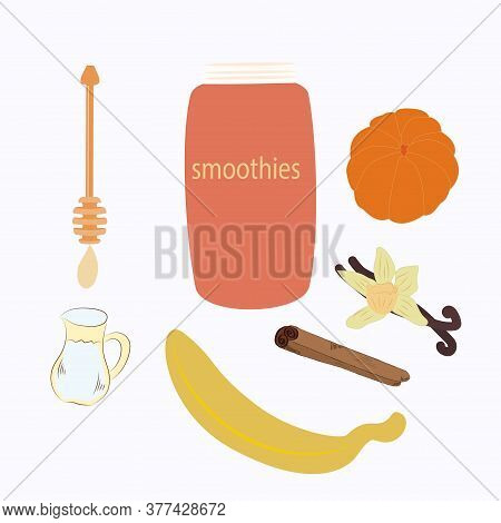 Tangerine Cocktail, Ingredients, Peeled Banana, Tangerine, Vanilla, Honey - Isolated On White - Vect