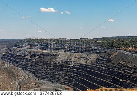 Iron Ore Quarry Terraced Relief, Mining Industry, Mining And Quarrying Equipment, General View