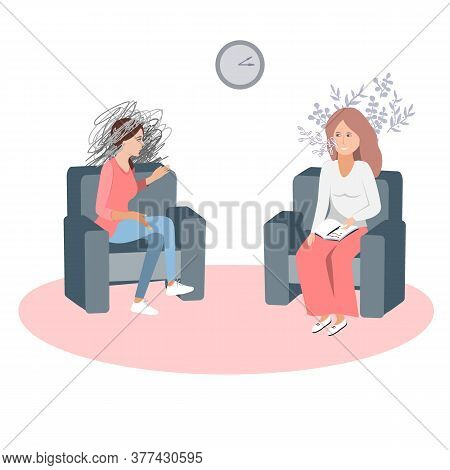 Gestalt Psychotherapy Session Vector Illustration. Woman Psychologist And Talking Woman Patient. Wor