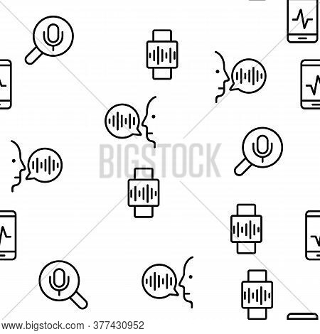 Voice Control Command Vector Seamless Pattern Thin Line Illustration