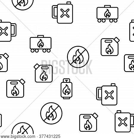 Combustible Products Vector Seamless Pattern Thin Line Illustration