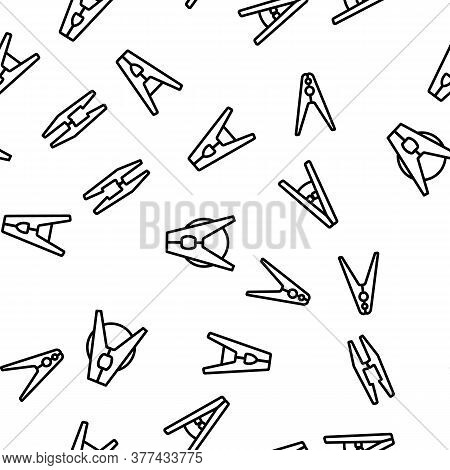 Clothes Pins Fasteners Vector Seamless Pattern Thin Line Illustration