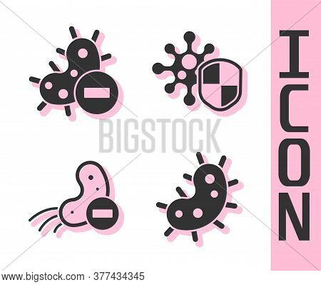 Set Virus, Negative Virus, Negative Virus And Shield Protecting From Virus Icon. Vector