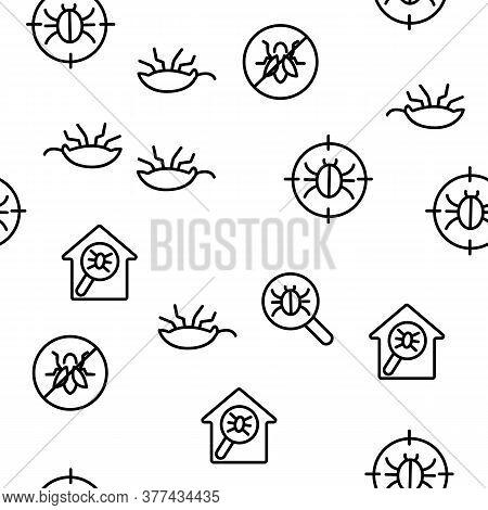 Pest Control Service Vector Seamless Pattern Thin Line Illustration