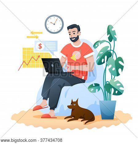 Freelance Home Work Flat Vector Illustration. Cartoon Bearded Happy Hipster Sitting In Modern Comfor