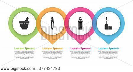 Set Mortar And Pestle, Mascara Brush, Perfume And Mascara Brush. Business Infographic Template. Vect
