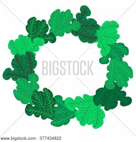 Vector Isolated Green Vignette Design With Eco Fresh Salad Leaves In Circle