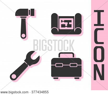 Set Toolbox, Hammer, Wrench Spanner And House Plan Icon. Vector