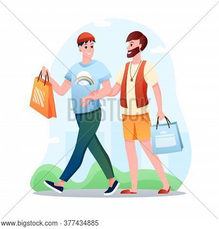 Gay Couple Lgbt Love Vector Illustration. Cartoon Flat Happy Man Partner Characters Walking, Homosex
